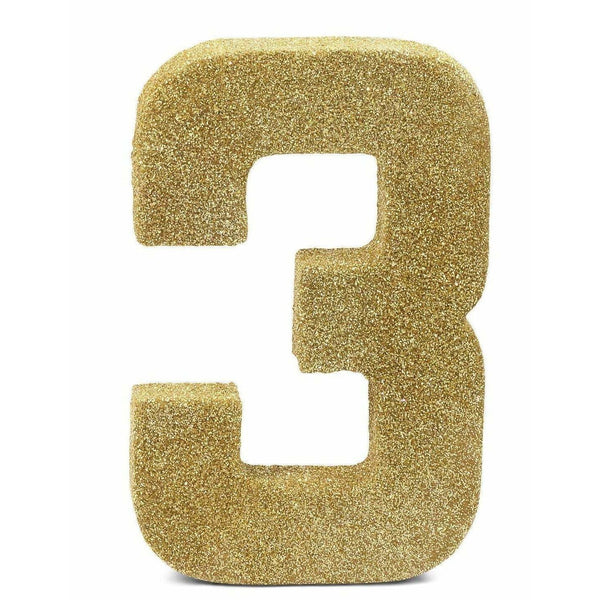 "8"" Gold Glitter Number 3, Large Glitter Numbers, Jamboree Party Box, Jamboree"