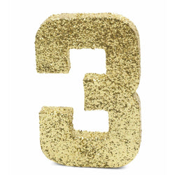 "8"" Gold Glitter Number 3, Large Glitter Numbers, Jamboree"