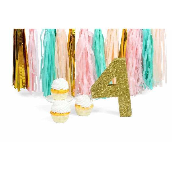 "8"" Gold Glitter Number 4, Large Glitter Numbers, Jamboree Party Box, Jamboree"
