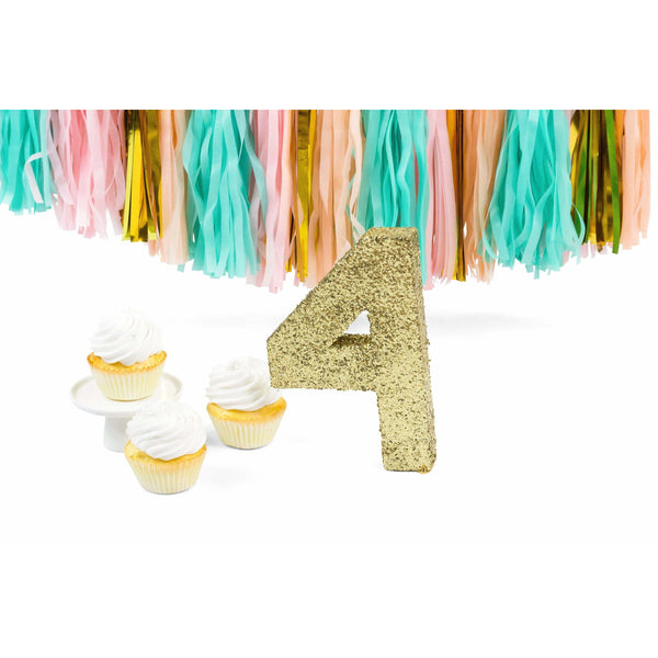 "8"" Gold Glitter Number 4, Large Glitter Numbers, Jamboree"