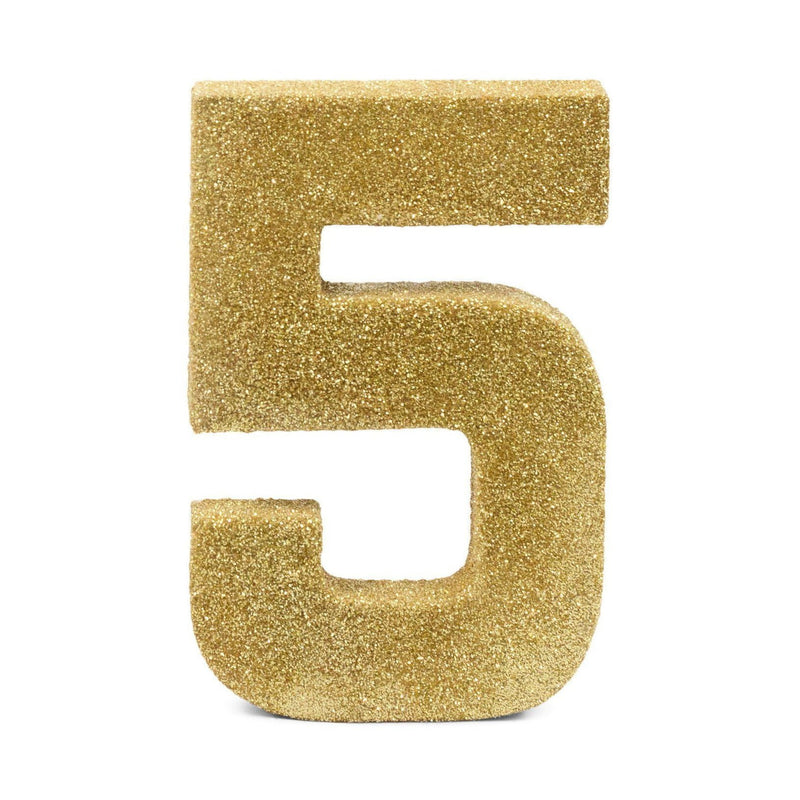 "8"" Gold Glitter Number 5, Large Glitter Numbers, Jamboree"
