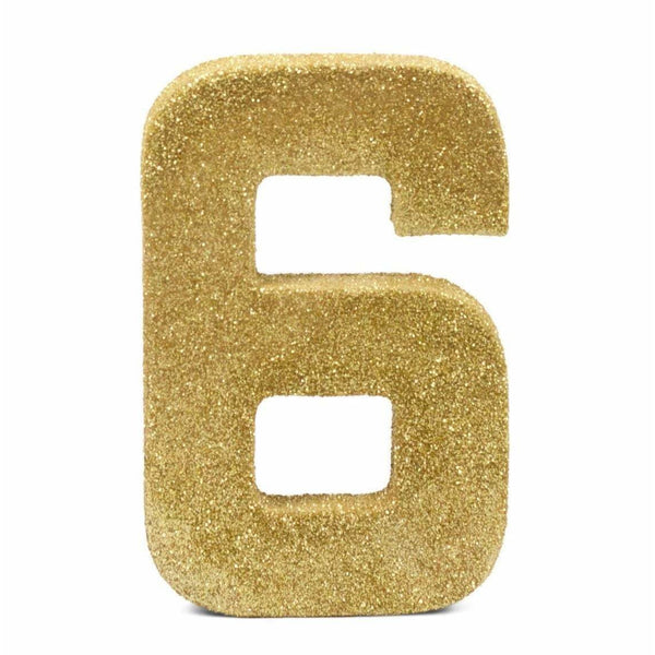 "8"" Gold Glitter Number 6, Large Glitter Numbers, Jamboree"