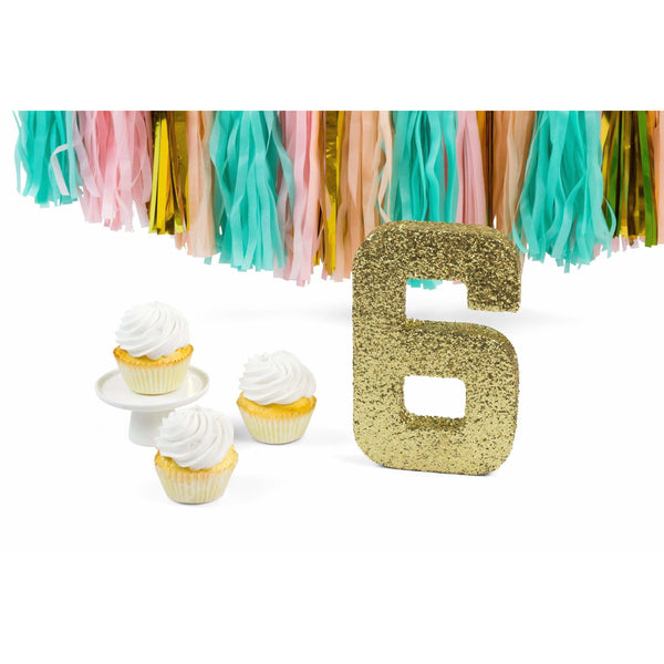 "8"" Gold Glitter Number 6, Large Glitter Numbers, Jamboree Party Box, Jamboree"