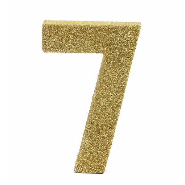 "8"" Gold Glitter Number 7, Large Glitter Numbers, Jamboree"