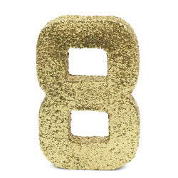 "8"" Gold Glitter Number 8, Large Glitter Numbers, Jamboree"