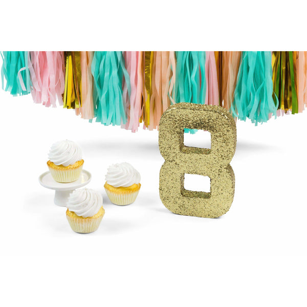 "8"" Gold Glitter Number 8, Large Glitter Numbers, Jamboree Party Box, Jamboree"