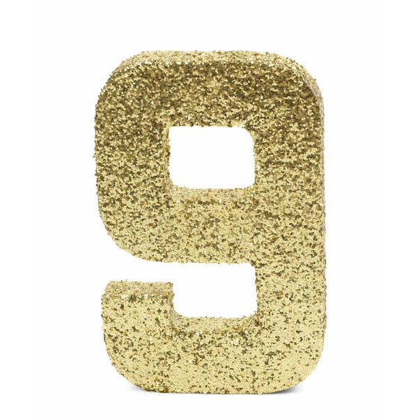"8"" Gold Glitter Number 9, Large Glitter Numbers, Jamboree"