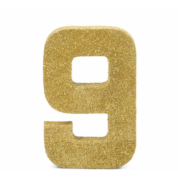 "8"" Gold Glitter Number 9, Large Glitter Numbers, Jamboree Party Box, Jamboree"