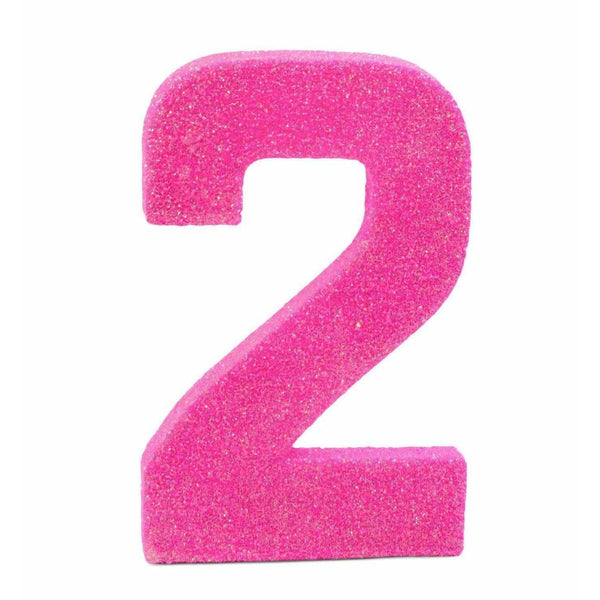"8"" Hot Pink Glitter Number 2, Large Glitter Numbers, Jamboree"