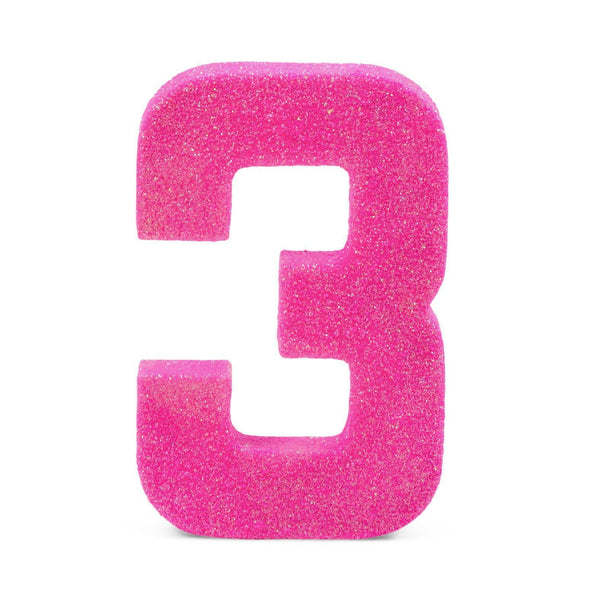 "8"" Hot Pink Glitter Number 3, Large Glitter Numbers, Jamboree"