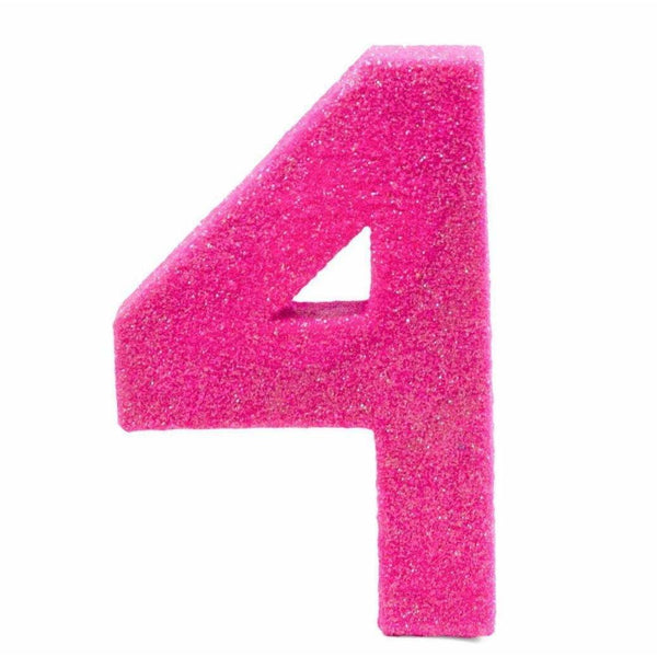 "8"" Hot Pink Glitter Number 4, Large Glitter Numbers, Jamboree"