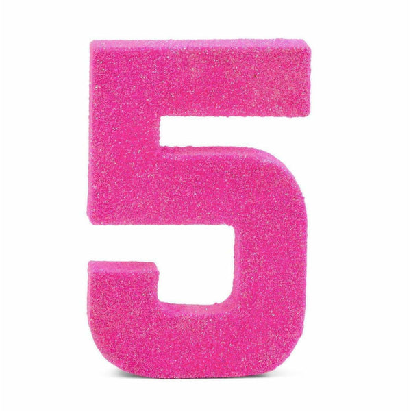 "8"" Hot Pink Glitter Number 5, Large Glitter Numbers, Jamboree Party Box, Jamboree"