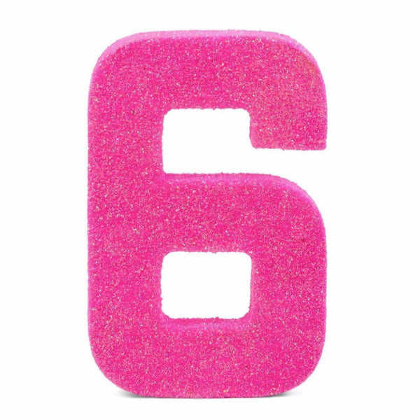 "8"" Hot Pink Glitter Number 6, Large Glitter Numbers, Jamboree Party Box, Jamboree"