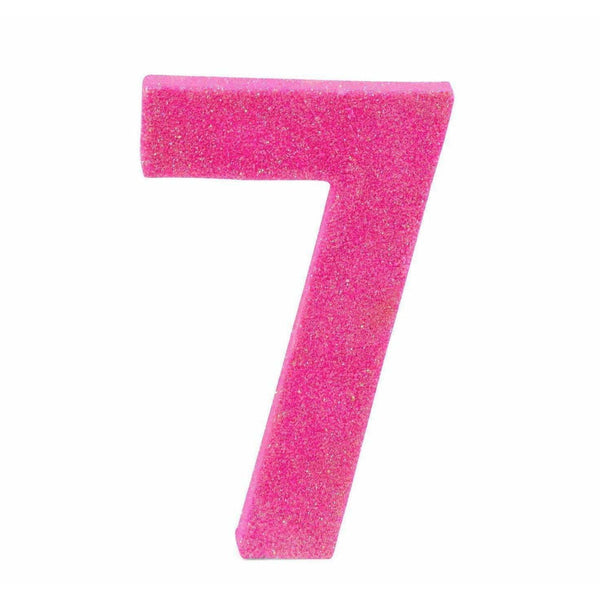"8"" Hot Pink Glitter Number 7, Large Glitter Numbers, Jamboree"