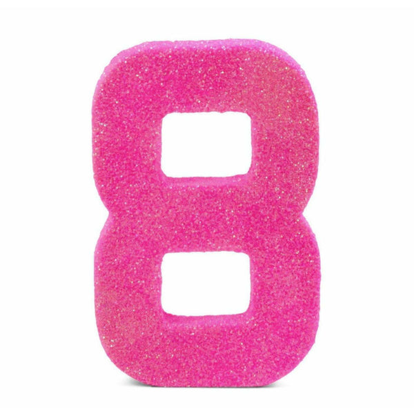 "8"" Hot Pink Glitter Number 8, Large Glitter Numbers, Jamboree Party Box, Jamboree"