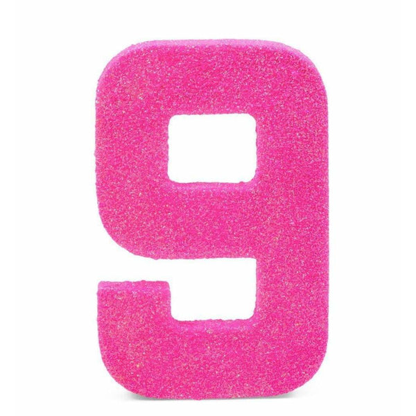 "8"" Hot Pink Glitter Number 9, Large Glitter Numbers, Jamboree"