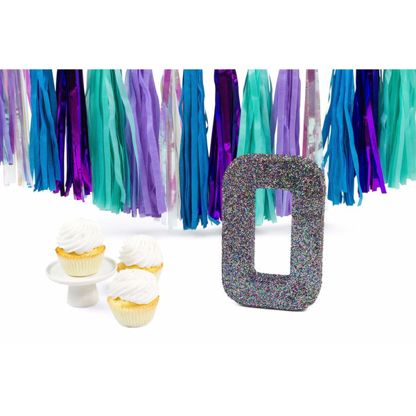 "8"" Mermaid Sparkle Glitter Number 0, Large Glitter Numbers, Jamboree Party Box, Jamboree"