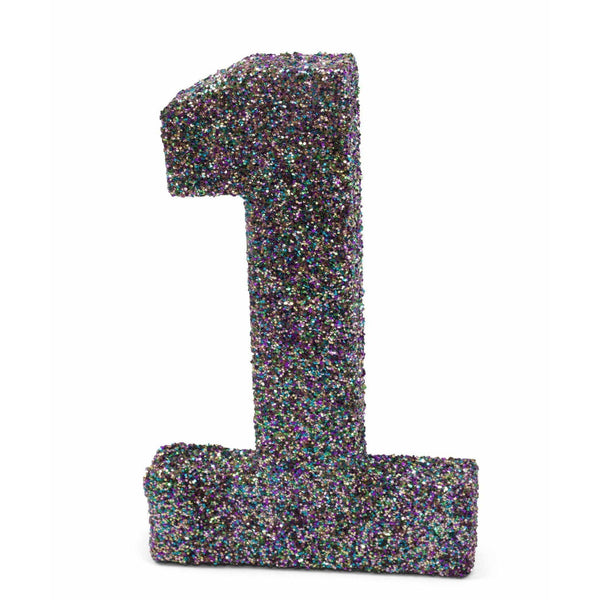 "8"" Mermaid Sparkle Glitter Number 1, Large Glitter Numbers, Jamboree Party Box, Jamboree"