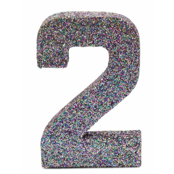 "8"" Mermaid Sparkle Glitter Number 2, Large Glitter Numbers, Jamboree"