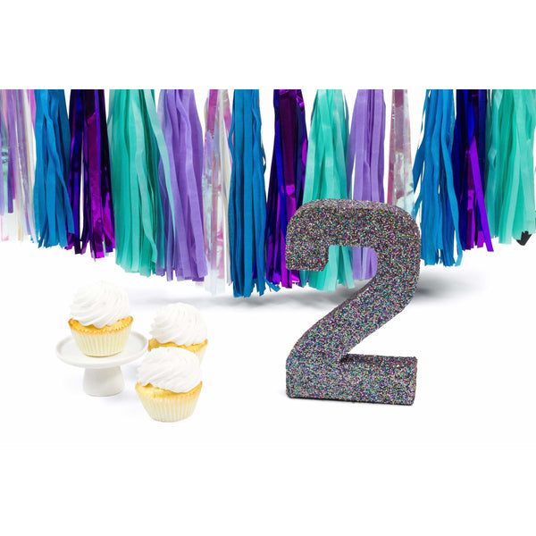 "8"" Mermaid Sparkle Glitter Number 2, Large Glitter Numbers, Jamboree Party Box, Jamboree"
