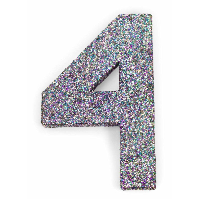 "8"" Mermaid Sparkle Glitter Number 4, Large Glitter Numbers, Jamboree Party Box, Jamboree"