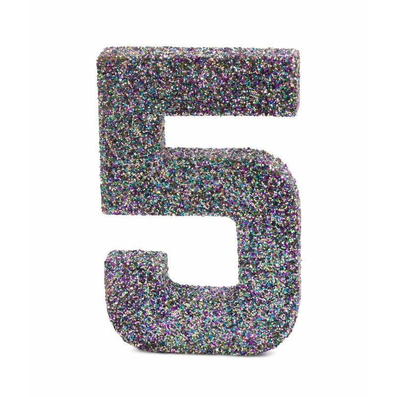 "8"" Mermaid Sparkle Glitter Number 5, Large Glitter Numbers, Jamboree"