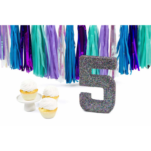 "8"" Mermaid Sparkle Glitter Number 5, Large Glitter Numbers, Jamboree Party Box, Jamboree"