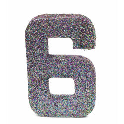 "8"" Mermaid Sparkle Glitter Number 6, Large Glitter Numbers, Jamboree"