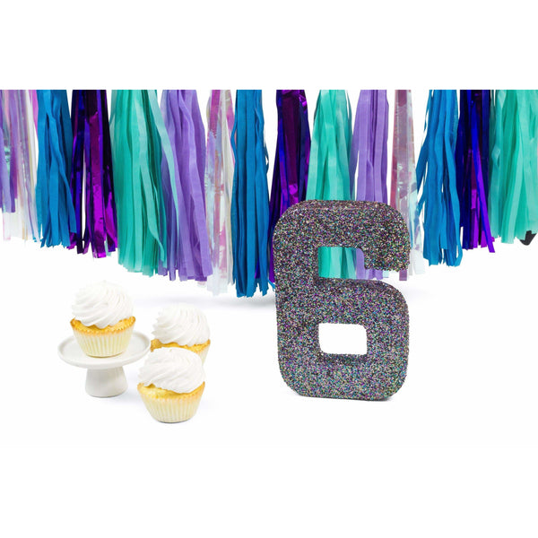 "8"" Mermaid Sparkle Glitter Number 6, Large Glitter Numbers, Jamboree Party Box, Jamboree"
