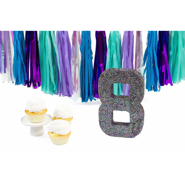 "8"" Mermaid Sparkle Glitter Number 8, Large Glitter Numbers, Jamboree Party Box, Jamboree"