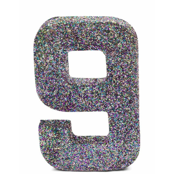 "8"" Mermaid Sparkle Glitter Number 9, Large Glitter Numbers, Jamboree"