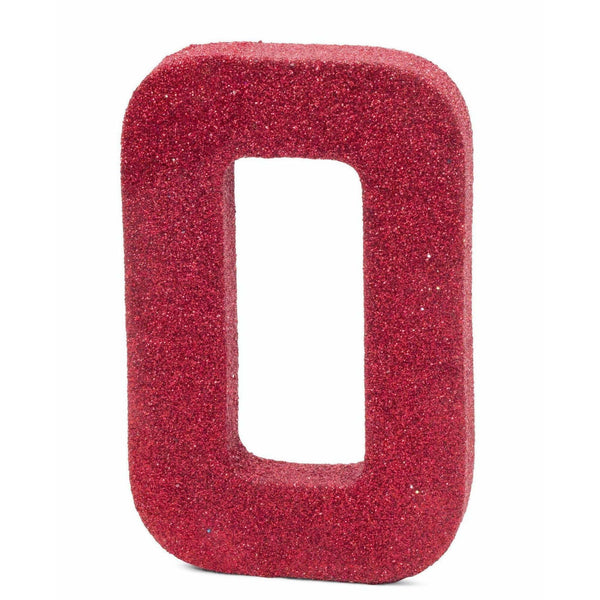 "8"" Red Glitter Number 0, Large Glitter Numbers, Jamboree"