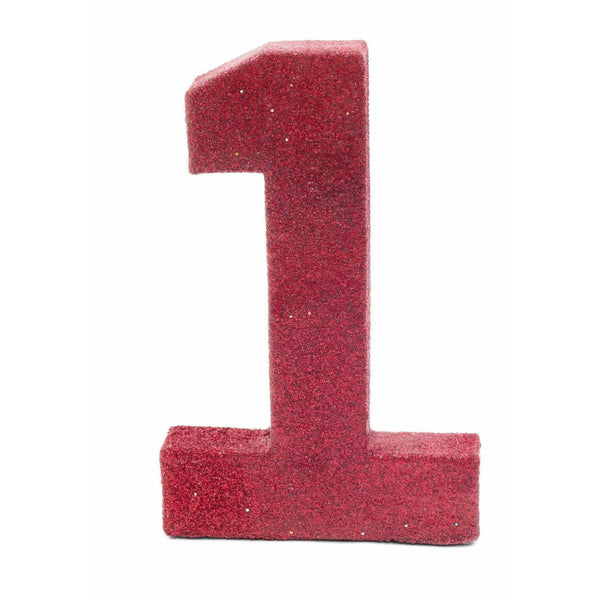 "8"" Red Glitter Number 1, Large Glitter Numbers, Jamboree Party Box, Jamboree"