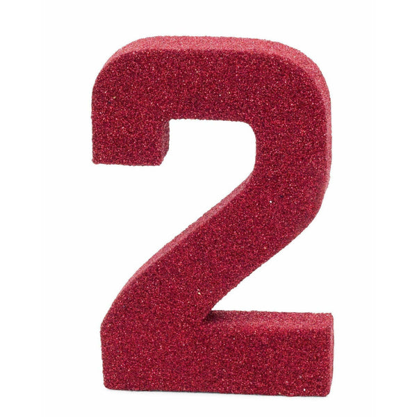"8"" Red Glitter Number 2, Large Glitter Numbers, Jamboree"