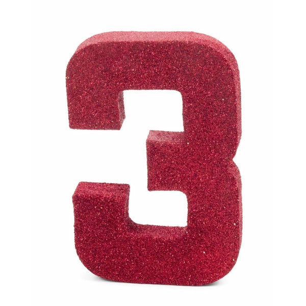 "8"" Red Glitter Number 3, Large Glitter Numbers, Jamboree Party Box, Jamboree"