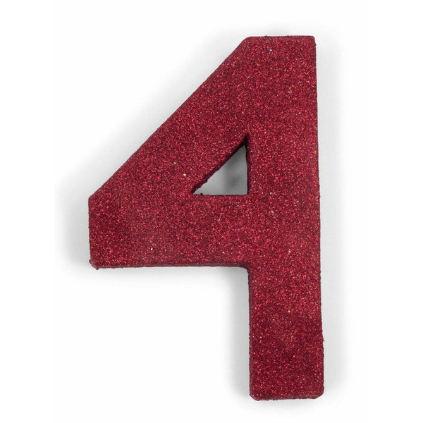 "8"" Red Glitter Number 4, Large Glitter Numbers, Jamboree Party Box, Jamboree"