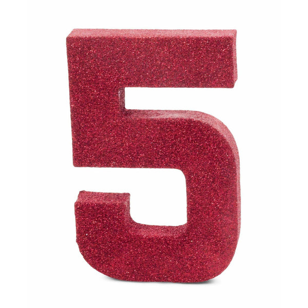 "8"" Red Glitter Number 5, Large Glitter Numbers, Jamboree"
