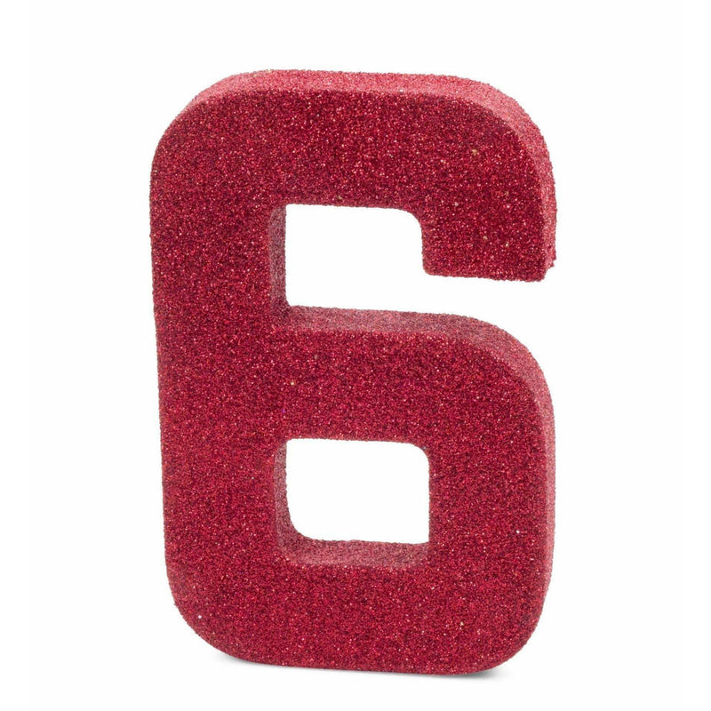 "8"" Red Glitter Number 6, Large Glitter Numbers, Jamboree"