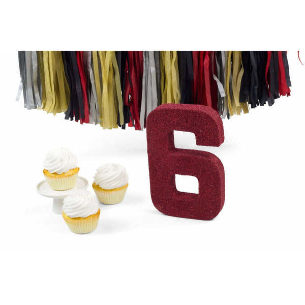 "8"" Red Glitter Number 6, Large Glitter Numbers, Jamboree Party Box, Jamboree"
