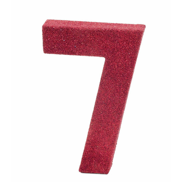 "8"" Red Glitter Number 7, Large Glitter Numbers, Jamboree"