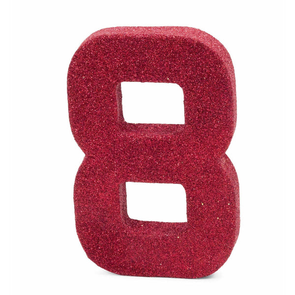 "8"" Red Glitter Number 8, Large Glitter Numbers, Jamboree Party Box, Jamboree"