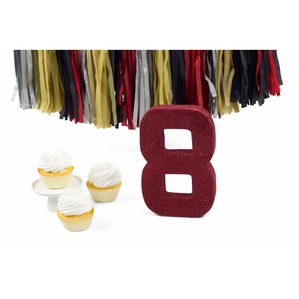 "8"" Red Glitter Number 8, Large Glitter Numbers, Jamboree"