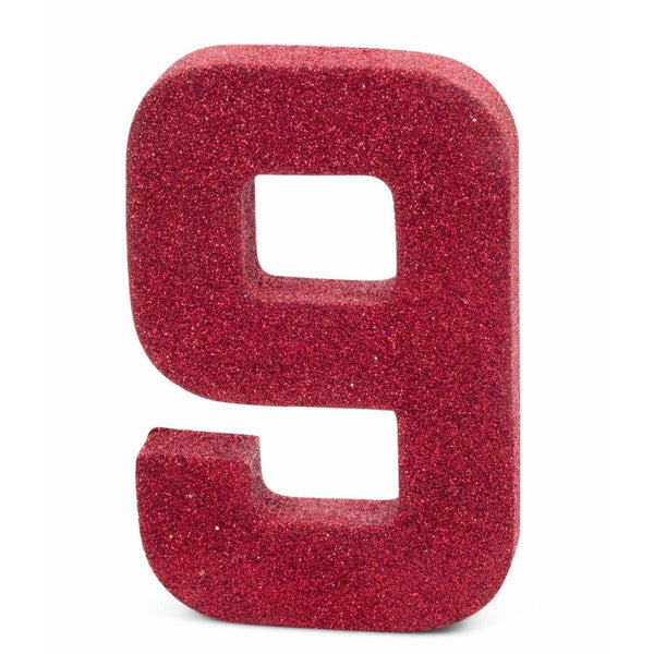 "8"" Red Glitter Number 9, Large Glitter Numbers, Jamboree"