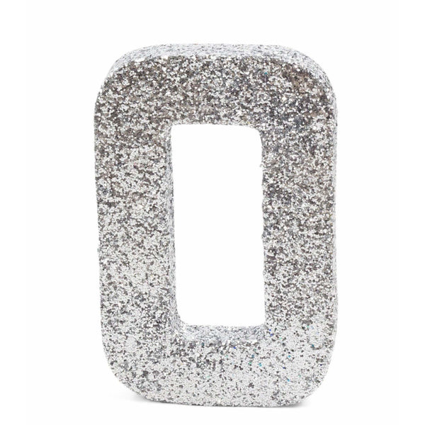 "8"" Silver Glitter Number 0, Large Glitter Numbers, Jamboree Party Box, Jamboree"