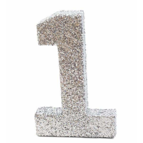 "8"" Silver Glitter Number 1, Large Glitter Numbers, Jamboree"