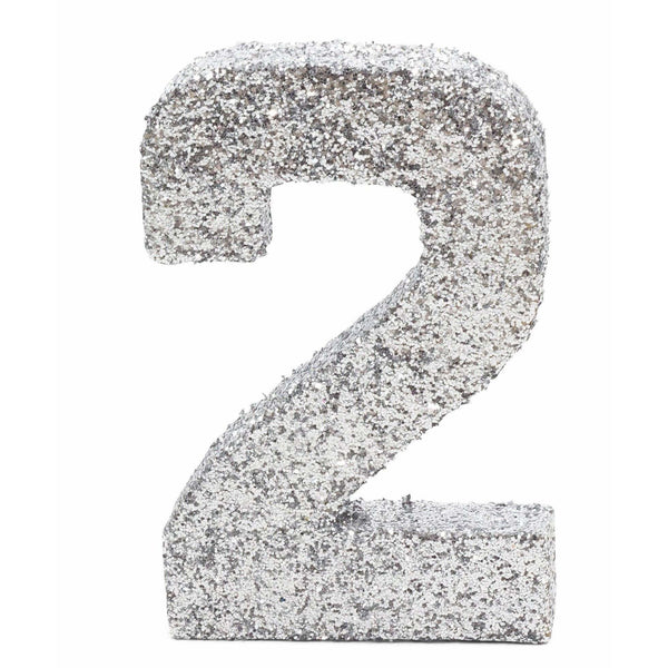 "8"" Silver Glitter Number 2, Large Glitter Numbers, Jamboree"