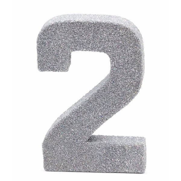 "8"" Silver Glitter Number 2, Large Glitter Numbers, Jamboree Party Box, Jamboree"