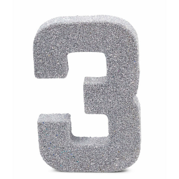 "8"" Silver Glitter Number 3, Large Glitter Numbers, Jamboree Party Box, Jamboree"