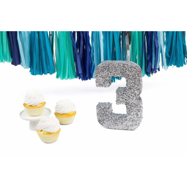 "8"" Silver Glitter Number 3, Large Glitter Numbers, Jamboree"
