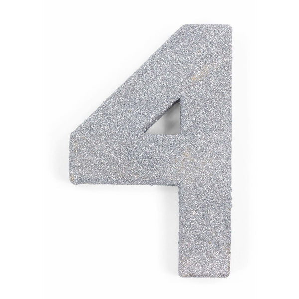 "8"" Silver Glitter Number 4, Large Glitter Numbers, Jamboree"